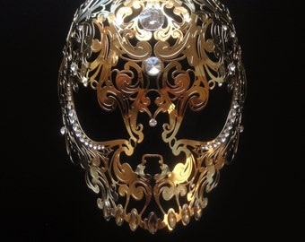 Halloween Skull Mask Masquerade Metal Mask White filigree Laser Cut