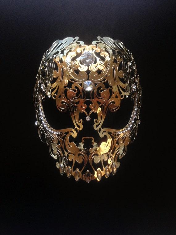 Halloween Skull Mask Masquerade Metal Mask White filigree Laser Cut