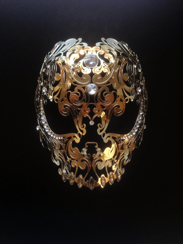 Halloween Skull Mask Masquerade Metal Mask White filigree