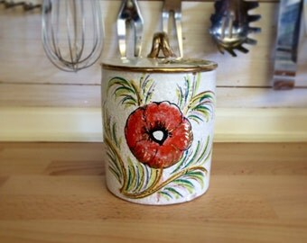 Vintage Italian Floral Ceramic Jar With Lid