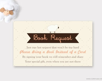 Sheep Book Request Card Printable, Little Lamb Book Request Card Baby Shower,  Sheep Bring