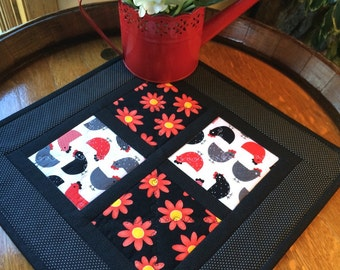 """Country Quilted Table Topper with Chickens and Flowers, 15 x 15"""" Black, White and Red Runner - Ready to Ship"""