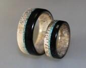 Wedding Band Set, Deer Antler Ring Set With Ebony Wood And Turquoise Bits