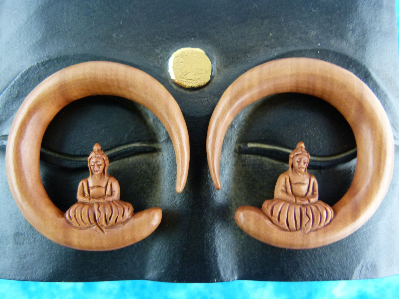 Buddha Gauges: Buddha Earring Stretchers 13mm Half Inch Buddha Meditating