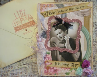 Vintage style birthday card, humor, mirror