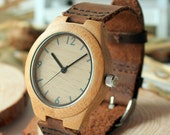 Personalizable Minimalist Bamboo Wooden Watch with Genuine Leather Strap ,mens watch, groomsmen gift, wood watch, men's watch