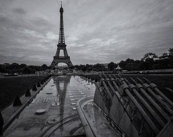 Trocadero Reflection, Eiffel Tower, Paris, Black and White, Romantic, Love, France - Travel Photography, Print, Wall Art