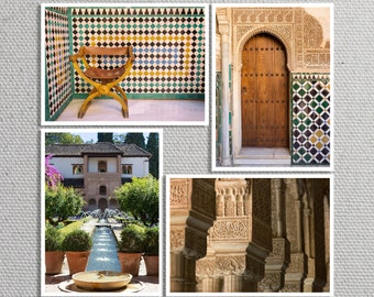 Alhambra Print Set, Granada, Spain, Palace Gardens, Moorish Decor, Architecture, Colorful Spanish Tile - Travel Photography, Wall Art