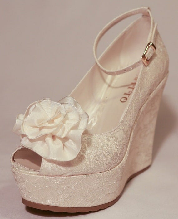 Wedding Wedge Heels: Wedding , Wedding Shoes, Bridal Wedge Shoes,Bridal Shoes