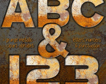 Rusty Metal Alphabet Clipart, Industrial Alphabet Clipart, Printable Rusted Metal Letters + Numbers + Punctuation, Grunge Rust Alphabet