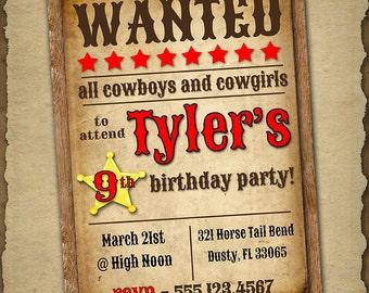 Cowboy Birthday Invitation, Western Birthday Party Invitation, Western Themed Birthday Invite, Custom Digital Printable Invitation