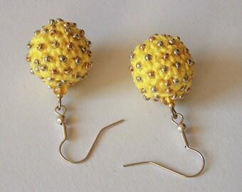 OOAK Yellow Earrings - Crochet Earrings