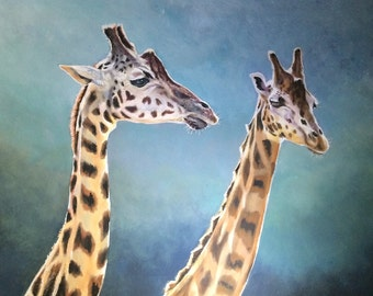 Giraffes - Two's Company - Limited Edition Mounted A3 portrait artist print of beautiful graceful giraffes