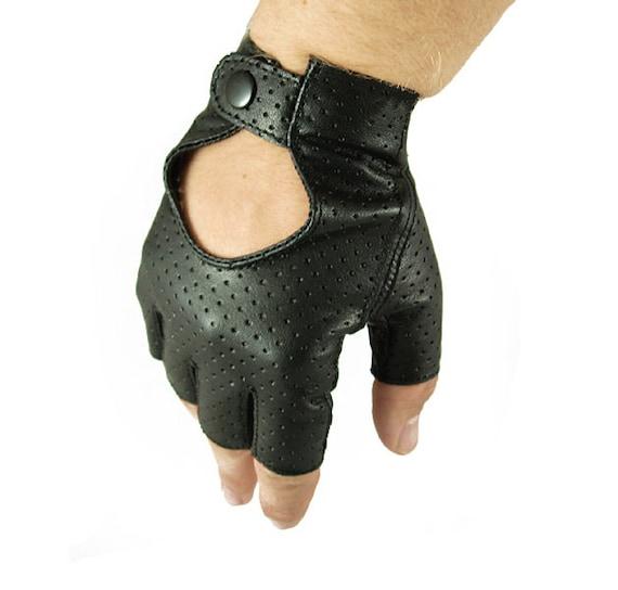 Fingerless men's leather gloves car driving gloves
