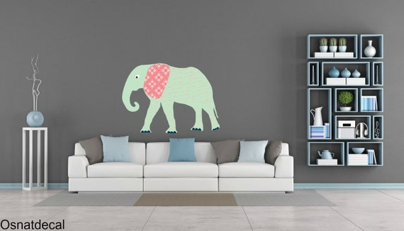 FREE SHIPPING Big Elephant Color Mint. Nursey Wall Decal. Vinyl Wall Decal. Children Decal.Home Decor. Baby Wall Decal. Wall Sticker.
