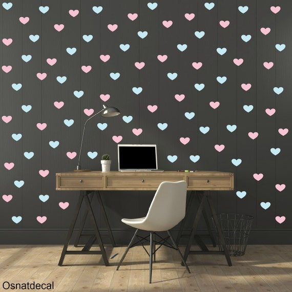 FREE SHIPPING Wall Decal Heart  Pastel Color Pink & Blue  250 Wall Decal. Nursery Wall Decal. Housewares Decal. Vinyl Wall Decal. Children