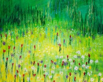 """Modern painting nature landscape  """"Théâtre de verdure"""""""