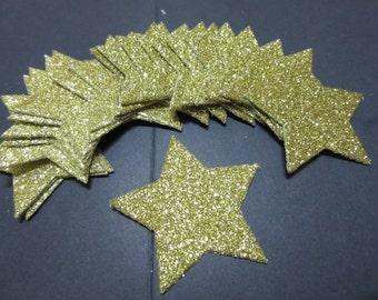 20x 4cm Gold Glitter Star die cuts