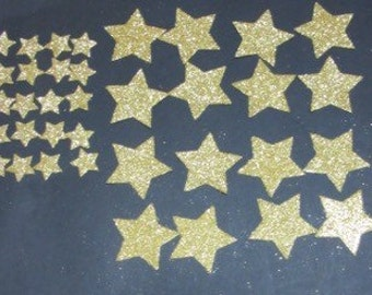 36 Gold Glitter Star die cuts, assorted sizes