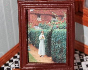DOLLHOUSE MINIATURE Painting/ Picture # 136, Young Girl In Garden, 1:12 Scale