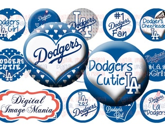 LA Dodgers INSPIRED INSTANT Download 4x6 Digital Printable 1 Inch Circle Bottle Cap Images