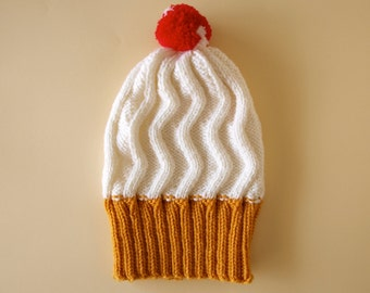 Ice cream cone Hat / Hand knit ice cream hat with pompom