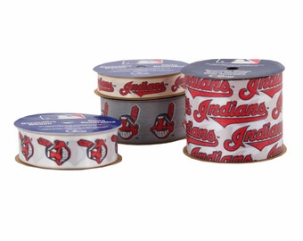 Offray 4-Pack MLB Cleveland Indians Ribbon, White/Red/Silver