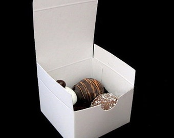 White Gloss Candy Treat Favor Box - 3x3x2""