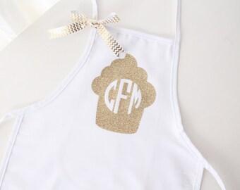Little Cupcake Glitter Monogram Child's Apron
