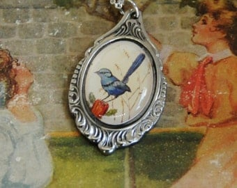 bird necklace, wren necklace,  vintage necklace, blue bird necklace