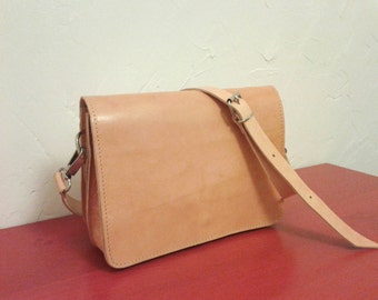 Leather Cross body bag Natural  plus backzip pocket