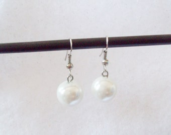 White Pearl Drop Earrings, Pearl Earrings, Wedding Jewelry, Wedding Earrings