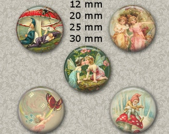 "12 mm, 20mm, 30 mm, 1 inch intage Fairies Digital Collage Sheet Round Images 1"" Round Circles Bottle caps Pendants Magnets"