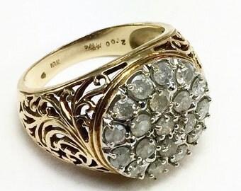 Vintage Gold Filigree Ring / Natural Diamonds