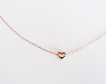 Tiny rose gold heart pendant necklace/heart pendant necklace/heart necklace/rose gold necklace