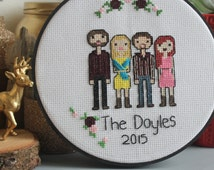 Cross Stitch Family Handmade to Order, Perfect Sentimental Birthday or Anniversary Gift for Your Family!