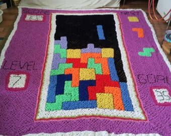 Huge Tetris arcade crochet,double layer blanket,soft warm and geeky.