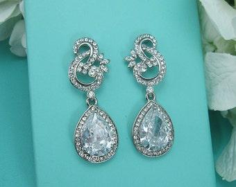 CZ earrings, pear cubic zirconia CZ jewelry, wedding earrings, dangle earrings, wedding earrings, bridesmaid jewelry, earrings 221483026