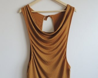 Vintage 90's Two layer mustard tank top, made in France