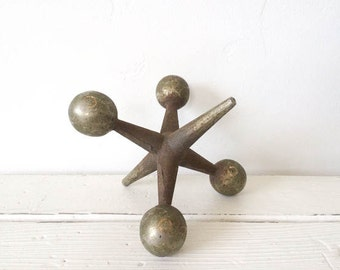 Vintage Mid-Century Modern Heavy Cast Iron Jack Sculpture / Bookend / Home Decor / Eames Era