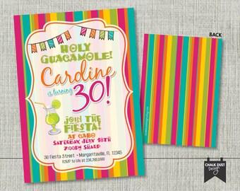 Custom fiesta invitations. Holy Guacamole Birthday surprise w/ margarita! Any age or color scheme. Digital file or Printed 5 x 7