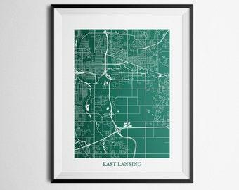 East Lansing, Michigan Abstract Street Map Print