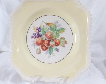 Vintage square Johnson Bros England decorative plate, yellow with berries
