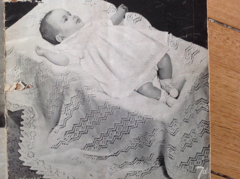 Vintage knitting pattern baby shawl
