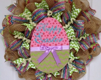Happy Easter Decorated Easter Egg with Lavender Bow Deco Mesh Wreath