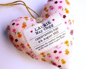 Girl's Christening / Baptism Gift - Personalised Heart Produced in Your Choice of Fabric. Supplied Gift Boxed
