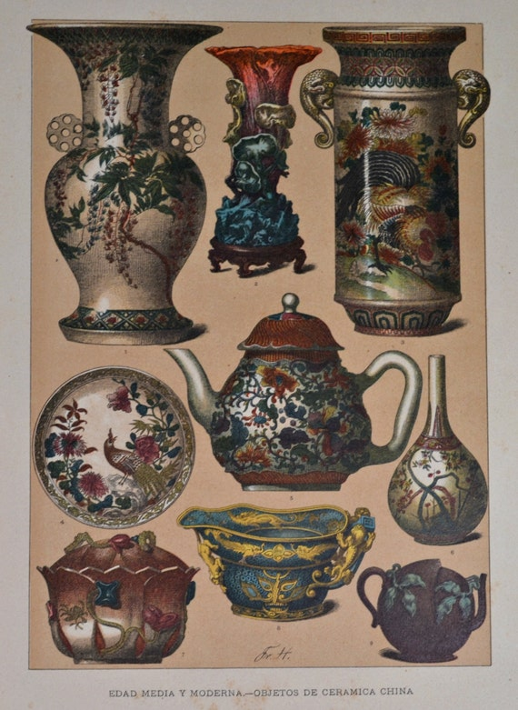 Chinesse ceramic in the Middle Ages and Early Modern Period. Antique print,1894.  121 years old print.  11,5 x 8,4 inches.