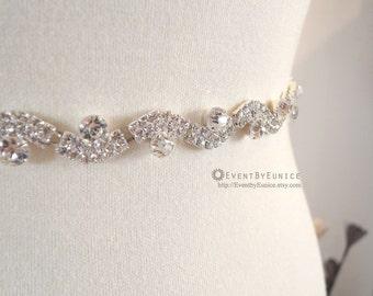 Wedding thin Belt, Bridal Belt, Wedding Sash, Bridal Sash, Crystal belt, Crystal sash, Bridesmaid Belt, Swarovski Sash, Swarovski Belt CROWN