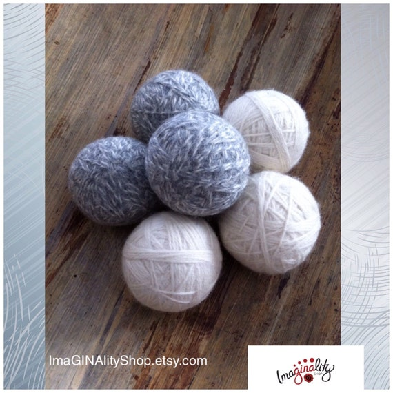 Knitting Pattern For Wool Dryer Balls : Felted Wool Dryer Balls, Set of 6, unscented