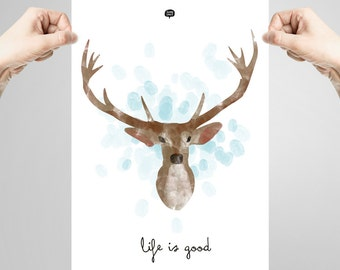 Wall art decor.  Picture Deer. Fingerprint. Printable art. Digital print.  Instant digital download. Illustration.